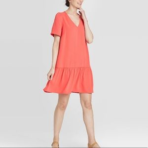 A New Day Coral Ruffle Hem Dress